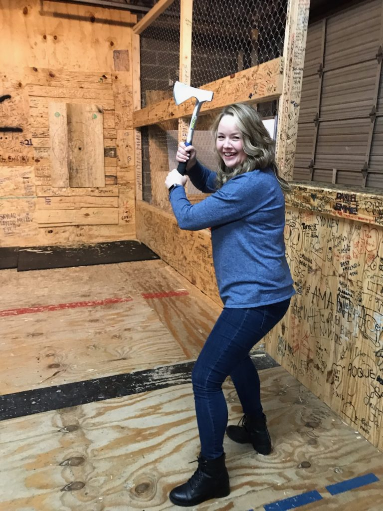 woman holding axe